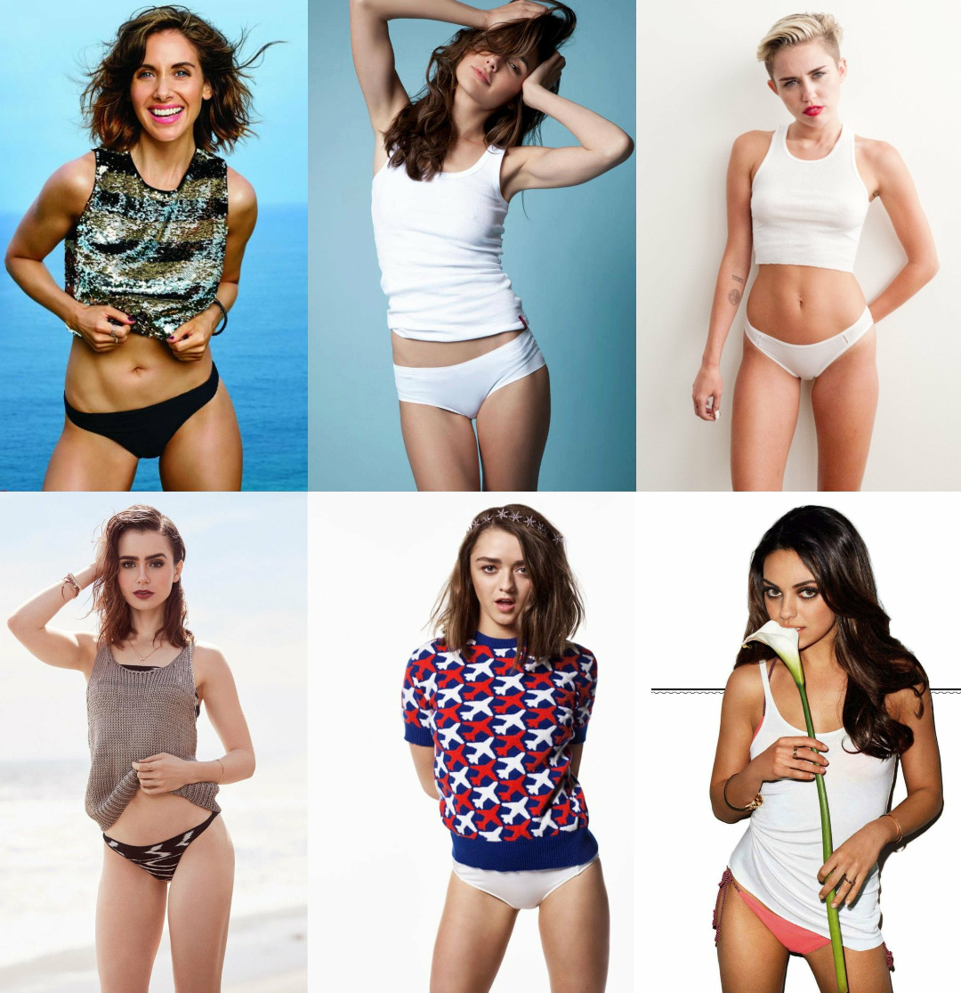Panties/Bikini Bottoms Photoshoot : Alison Brie, Gal Gadot, Miley Cyrus, Lily Collins, Maisie Williams & Mila Kunis