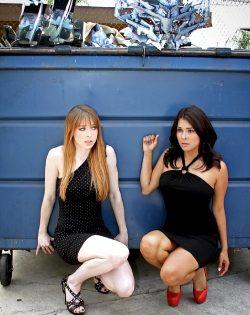 Lisa Folies And Alisa Reyes Nervously Crouching.