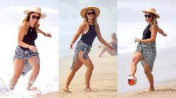 Olivia Wilde's Beautiful Legs In A Black, One-piece Swimsuit!